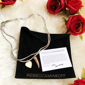 Rebecca Minkoff Necklace Italian Horn Heart Charms